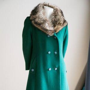 Unbranded | Vintage Jackets & Coats - Emerald  Green Wool Coat w Fur Collar